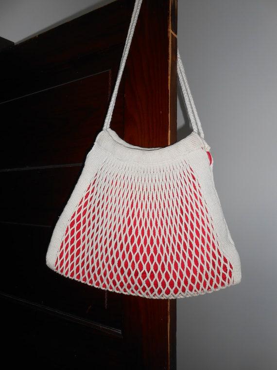 String Fishnet bag, Slouchy Bag purse, String mark