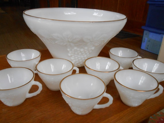 Vintage White Milk Glass Punch Bowl And Cup Set Anchor Etsy