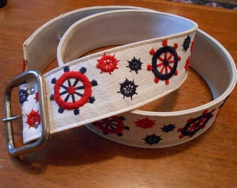 White leather Nautical belt/ embroidered shipwheels/red/white/blue