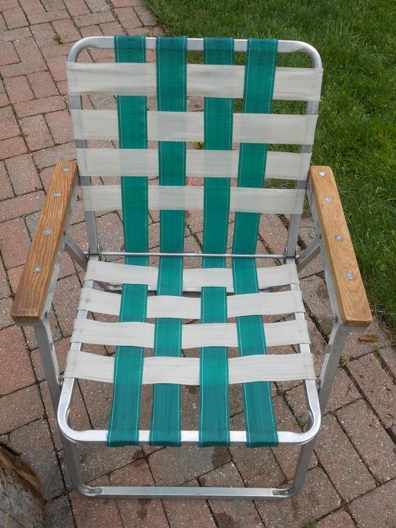 Fine Retro Vintage Outdoor Folding Lawn Chair Aluminum Webbed 50S Wood Arms Machost Co Dining Chair Design Ideas Machostcouk
