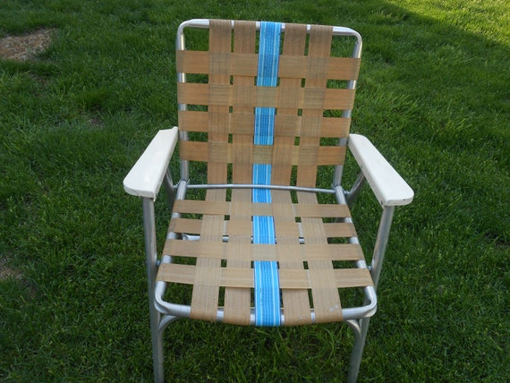 Awesome Retro Vintage Outdoor Folding Lawn Chair Aluminum Tan With Blue Short Links Chair Design For Home Short Linksinfo