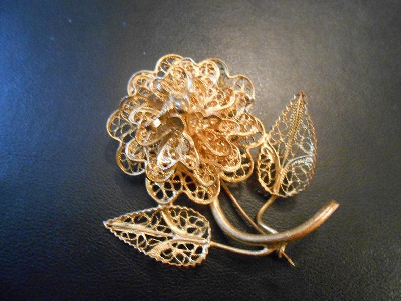 vintage filigree flower pin gold flower statement brooch signed CU