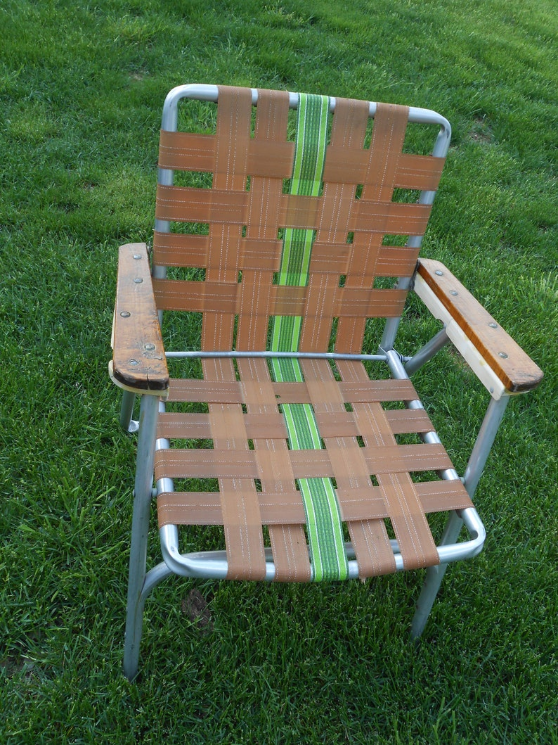 image 0 & Retro Vintage Outdoor Folding Lawn Chair Aluminum Webbed 50s | Etsy