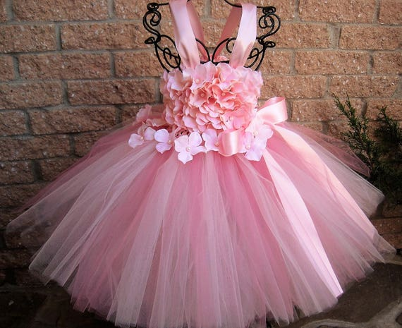 BABY PINK FLOWERS Pink Tutu Dress Flower Girl Gown Pageant