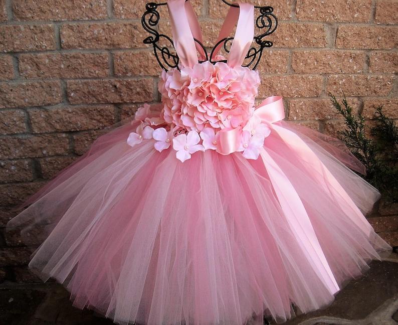 de05df523 BABY PINK FLOWERS Pink Tutu Dress Flower Girl Gown 1st | Etsy