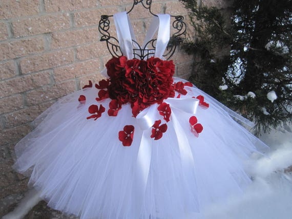 White red flowers white tutu dress flower girl gown pageant etsy image 0 mightylinksfo