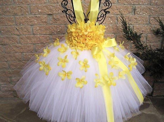 White yellow flowers white tutu dress yellow tutu dress etsy image 0 mightylinksfo