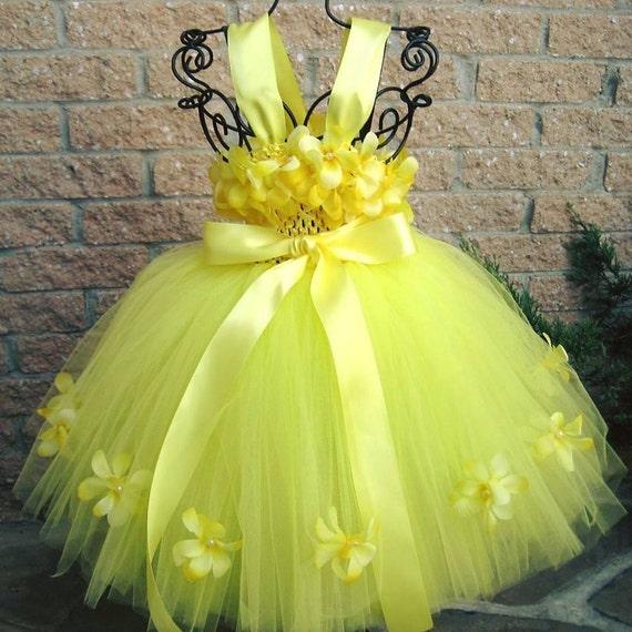 Yellow blossom flowers yellow tutu dress flower girl gown etsy image 0 mightylinksfo