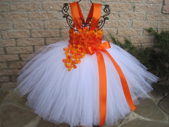 White orange flowers white tutu dress flower girl gown mightylinksfo