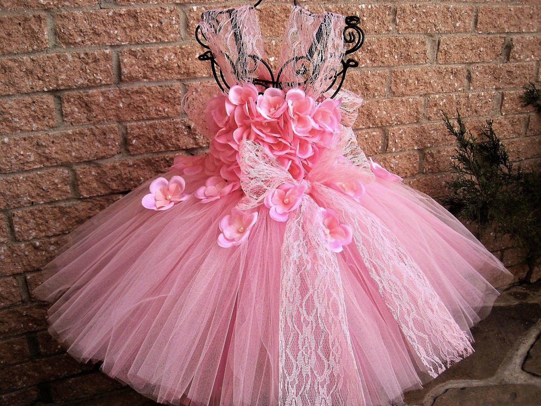 FLORES de color rosa con encaje vestido rosado del tutú flor | Etsy