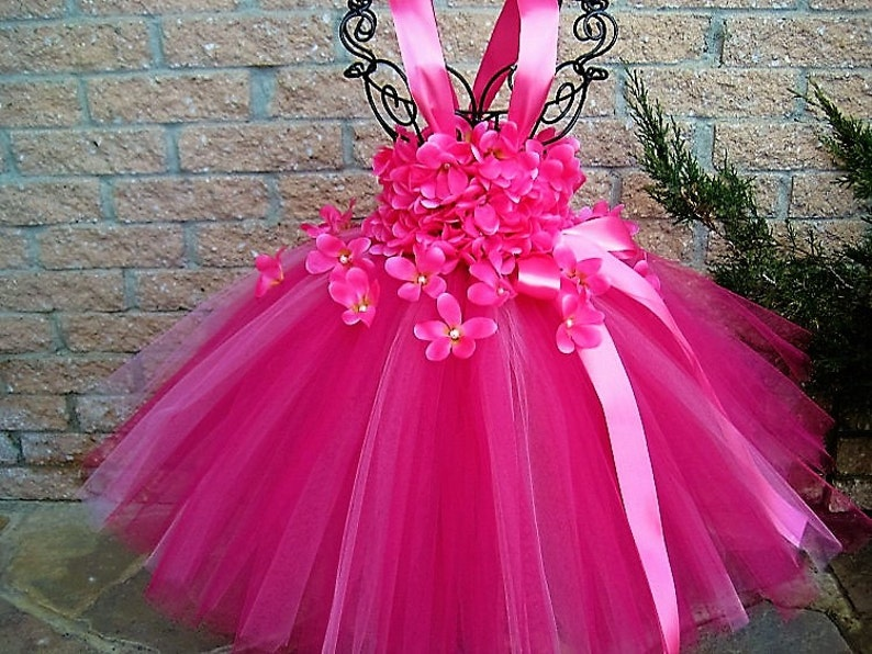 565e9741fc4 PINK FLOWERS PINK Tutu Dress Flower Girl Gown Pageant Girl