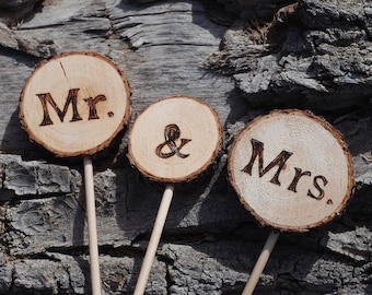 Mr. & Mrs. Wood Slice Cake Topper - Handmade Wood Burned - Buy in Addition to Custom Match Base - Rustic Country Woodland Wedding Decoration