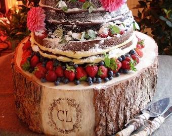 ADD-ON ONLY - Engraving - Full Monogram Shield Crest or Flower Laurels - Rustic Wood Tree Slice Wedding Cake Base or Cupcake Stand