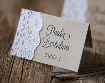 Handmade Rustic Tented Table Place Card Setting - Custom - Escort Card - Shabby Chic - Vintage Burlap & Lace - Gift Tag or Label - Thank You