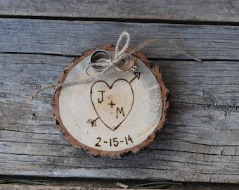 Wood Ring Holder - Rustic Wedding - Alternative to Ring Bearer Pillow - Forever Keepsake - Custom Christmas Ornament - 5th Anniversary Gift