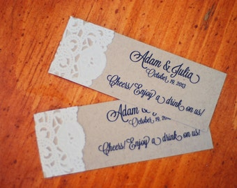Custom Rustic Wedding Drink Ticket - Place Cards - Gift Tag - Lace Doily Vintage - Wishing Tree Card - Escort Cards - Mason Jar Tag