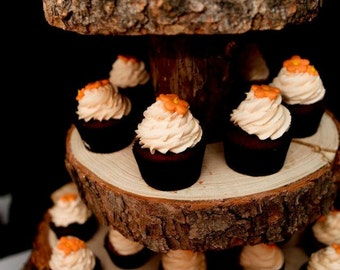 Rustic Wood Tree Slice 4-tier Cupcake Stand for your Wedding, Event, or Party - Woodsy, Outdoor, Woodland, Dessert Table, Barn Decor, Donut