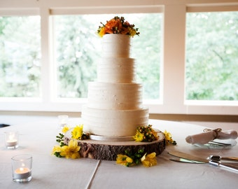 """12"""" Rustic Wood Tree Slice Wedding Cake Base or Cupcake Stand for your Event and Party or even a Newborn Photo Prop"""