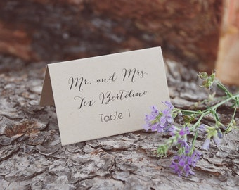 Wedding Place Card - Simple and Modern Tented Table Setting - Custom - Escort Card - Shabby Chic - Vintage Burlap - Calligraphy Font - Kraft