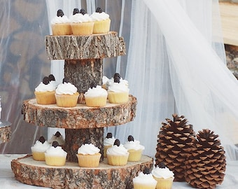 Rustic Wood Tree Slice 3-tier Cake and Cupcake Stand for your Wedding, Event, or Party - Barn, Country, Woodland, Outdoor - THE ORIGINAL