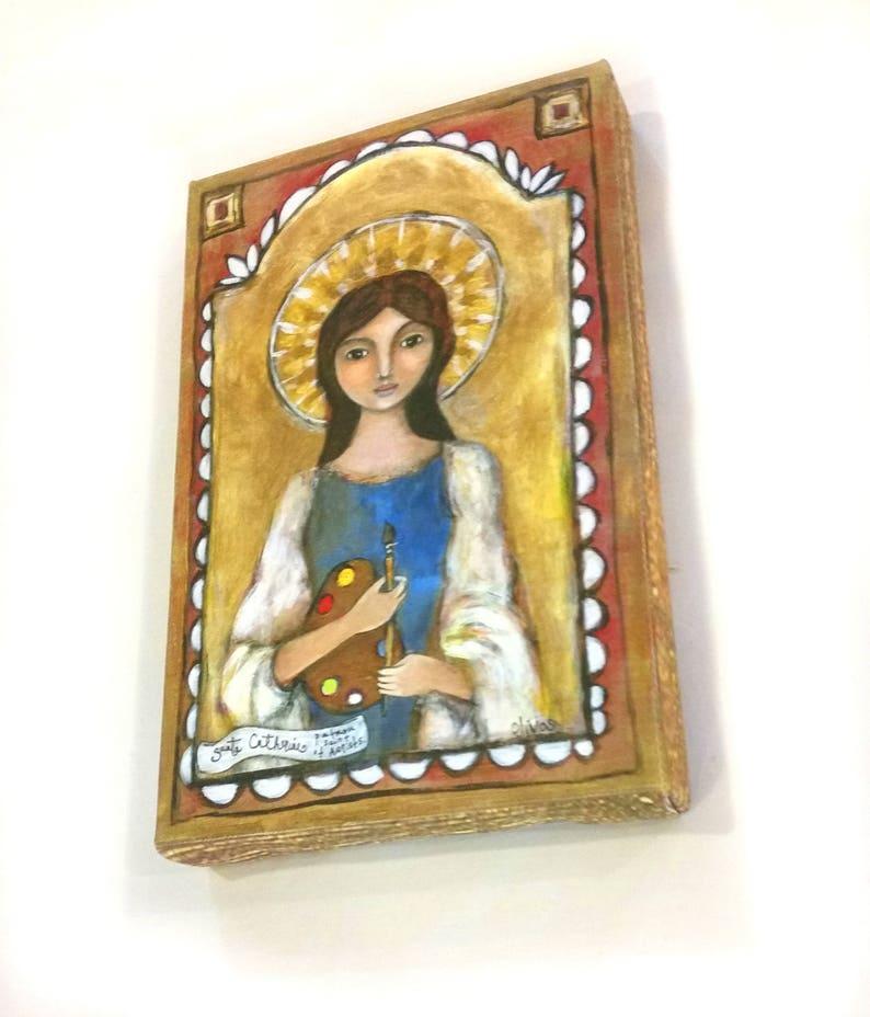 Patron Saint of Artists - New Mexico Retablo - Santo -Saint Catherine -  Inspirational Art - Gift for Artists - Patron Saint - Catholic Art