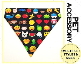 Black Emoji Pet Accessory - Over the Collar - Custom - Bandana, Bow Tie, Neck Tie, Flower, Waste Bag Dispenser