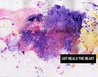 Art Heals The Heart Postcard | Original Design | Print | Mixed Media | Journaling | Art Journaling | Smash Book | Mailable | Frame | Tip In