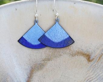 Blue Triangle Earrings, Two Blues Earrings, Geometric Blue Earrings, Geometric Earrings, Copper Enamel Earrings, Blue Earrings, Copper