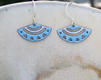 Blue and White Earrings, Geometric Earrings, Small Dangle Earrings, Soft Blue Earrings, Copper Earrings, Glass Earrings, Copper Enamel