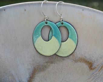 Yellow and Green Oval Earrings, Oval Earrings, Copper Enamel Earrings, Lightweight Earrings, Copper Earrings, Statement Earrings, Glass