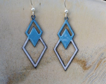 Blue and White Geometric Earrings, Blue and White Earrings, Copper Enamel, Copper Earrings, Glass Earrings, Geometric Earrings, Dangles
