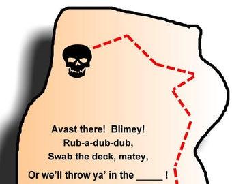 Indoor Pirate Treasure Hunt, 10 Clues, Great for Parties!