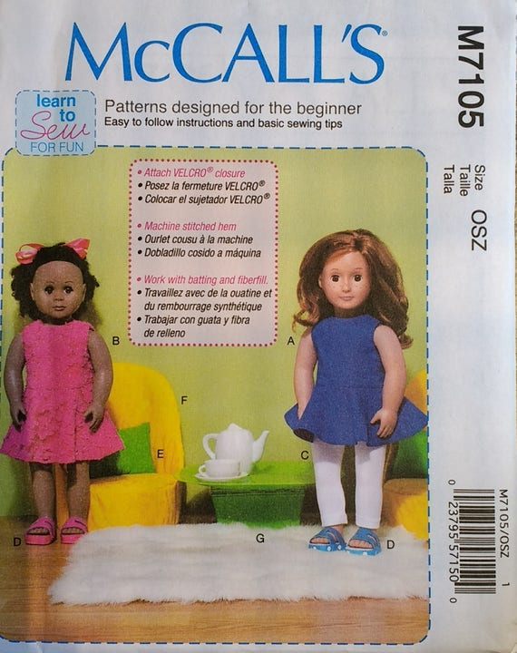 """McCalls Sewing Pattern M7106 Clothes For 18/"""" Dolls"""