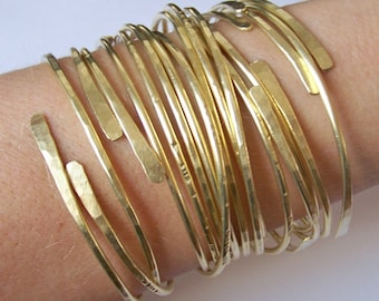 Gold Bangles - Thick Open End Bangle Bracelets - 4 Brass Bangles - Hammered - Smooth - Notched - Dimpled - Made to Order