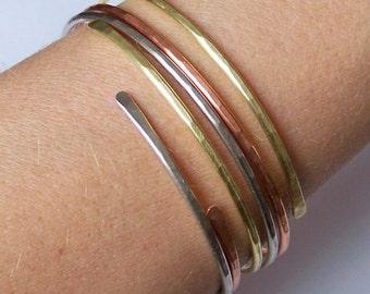 Bangles - Open End Bangle Bracelets - Hammered Stackable Bangles - 1 Copper 1 Brass 1 German Silver - Stacking Bangle - Made to Order