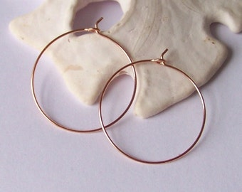 Rose Gold Hoop Earrings - Gold Filled Smooth or Hammered Hoop Earrings - Sterling Silver Hoop Earrings - SMALL 1.125 inch - Made to Order