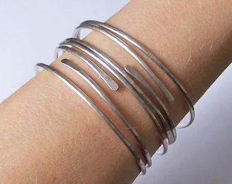 Bangle Bracelets - Silver Bangle - 4 Thick Open End Bangles - German Silver Silver Fill or Sterling Silver Bracelets - Choose Your Metal