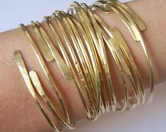 Stacking Bangles - Open End Bangle Bracelets - SET of 10 - All Hammered Smooth Notched Dimpled or CUSTOM Set - Copper Brass Silver Bronze