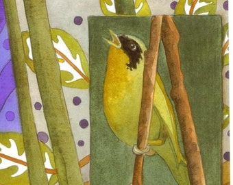 Warbler bird lover blank greeting card