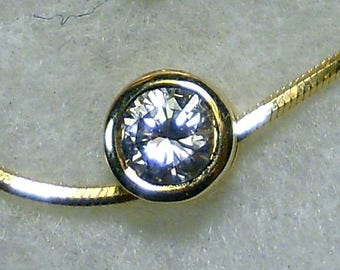 "Diamond Solitaire Bezel Set .60 ctw 16"" Snake Chain"