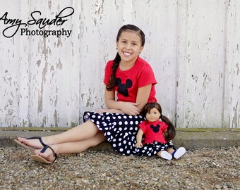 Boutique Matching Doll and Girl Outfits - Mickey Mouse Inspired Skirt and Shirt