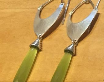 Lemon fire opal earrings with fine silver