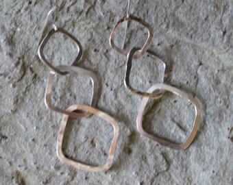 Three Square Earrings