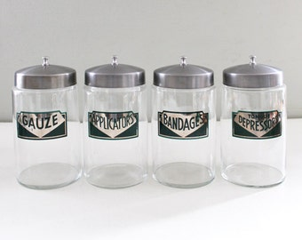 Vintage Art Deco Medical Supply Jar - Applicators