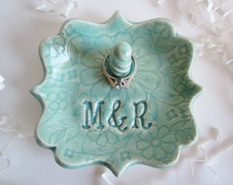 Personalized Ring holder dish, bridal shower gift, engagement gift for best friend, ring dish