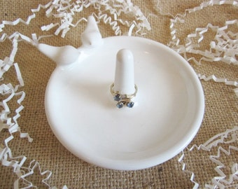 White Lovebirds ring holder dish, bridal shower gift, jewelry tray, ring tray