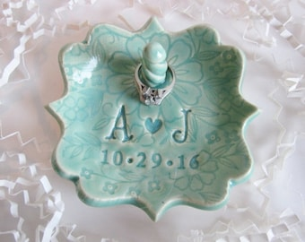 Ceramic Ring holder  dish in aqua, Personalized engagement jewelry dish gift, pottery ring tray