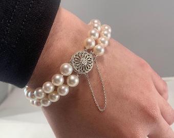 Double strand white akoya pearl bracelet (A2376)