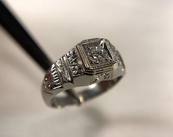 14k White Gold and Diamond Antique Petite Ring