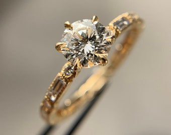 Antique Diamond Engagement Ring, Six Prong, 14k Yellow Gold, Size 6 (A002367)